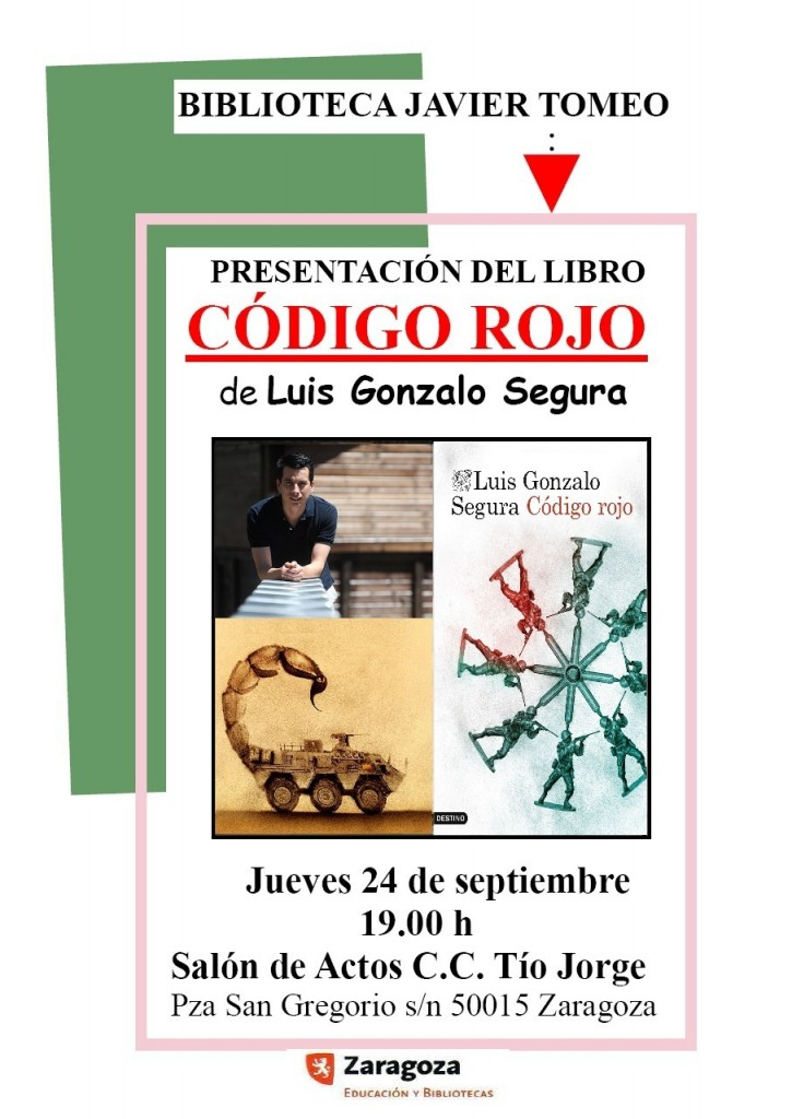 Cartel presentación Código Rojo en Biblioteca Javier Tomeo